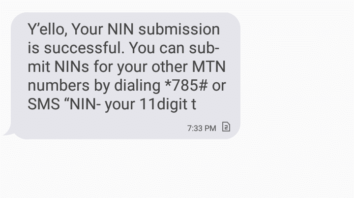 MTN NIN submission verified and linked