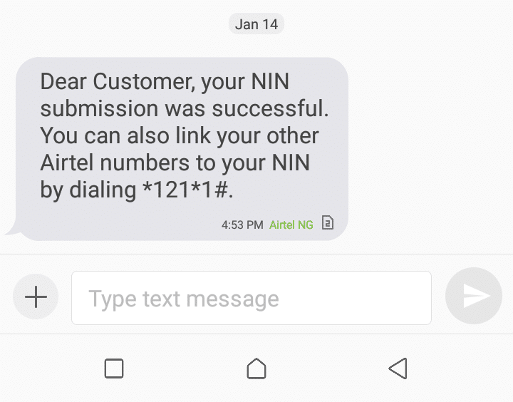Airtel NIN verified