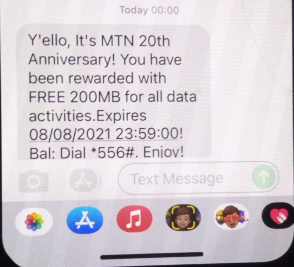 MTN Anniversary bonus