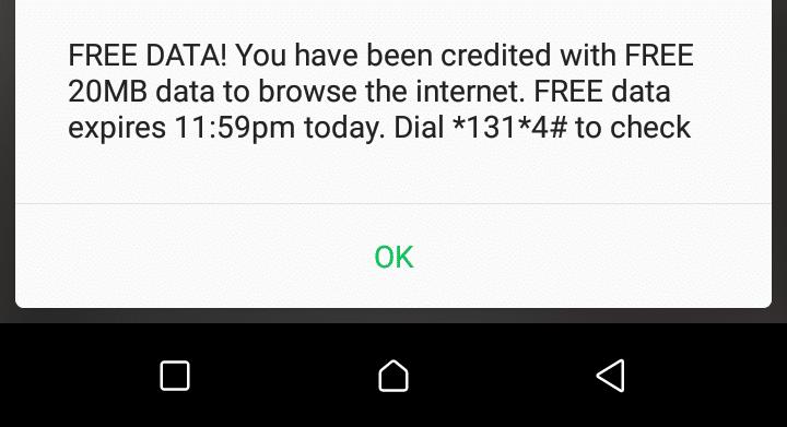 MTN 20mb free data