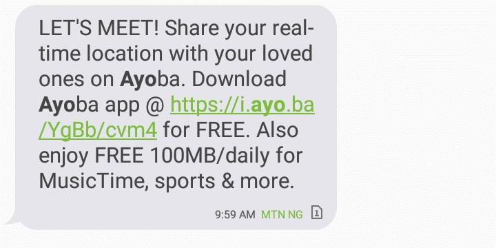 Ayoba free mtn data 100mb